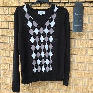 Merona Argyle V-Neck Black/Gray Sweater, Size L